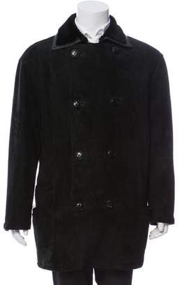 Gianni Versace Double-Breasted Shearling Overcoat