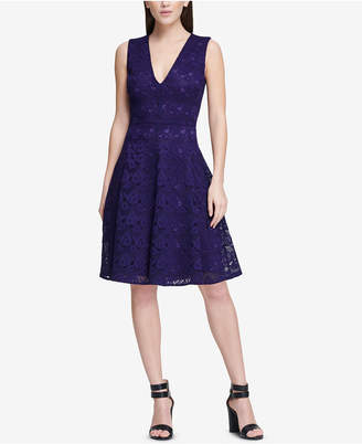 DKNY Lace Fit & Flare Dress