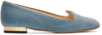 Charlotte Olympia SSENSE Exclusive Blue Velvet Kitty Flats