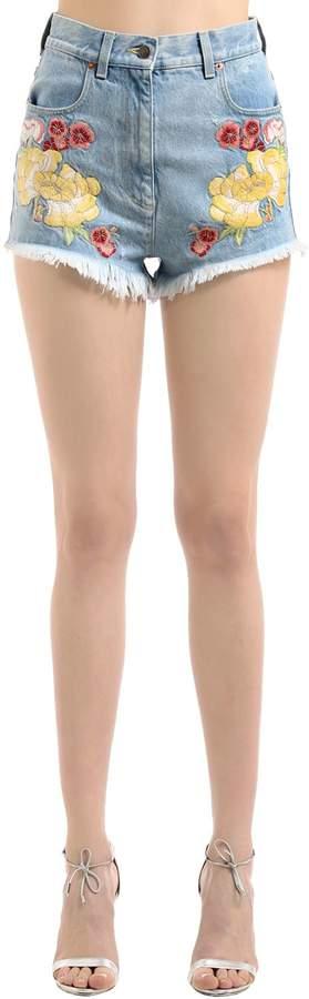 Shorts Aus Baumwolldenim Mit Stickerei