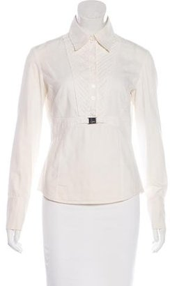 Karen Millen Pleated-Accented Long Sleeve Top $75 thestylecure.com