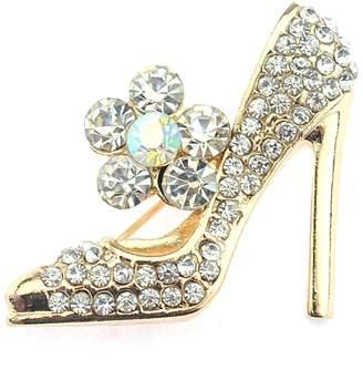 NYfashion101 Rhinestone Studded Stiletto High Heel w/ Flower Brooch Pin