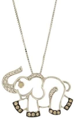 18K White Gold & 14K White Gold With Diamonds Elephant Pendant & Chain