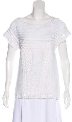 Oscar de la Renta Embellished Short Sleeve Sweater