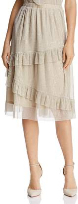 June & Hudson Ruffled Metallic Skirt