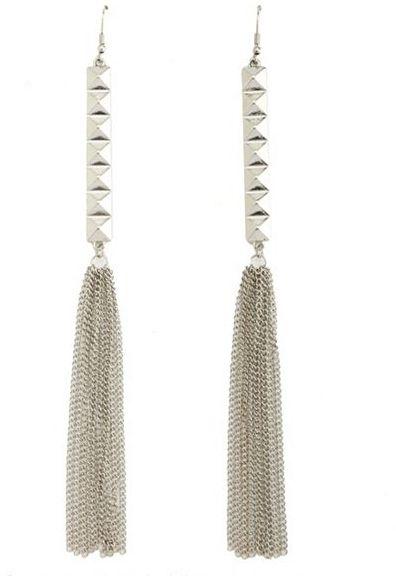 Charlotte Russe Pyramid Bar Fringe Earrings