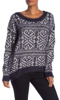 Papillon Fuzzy Printed Long Sleeve Sweater