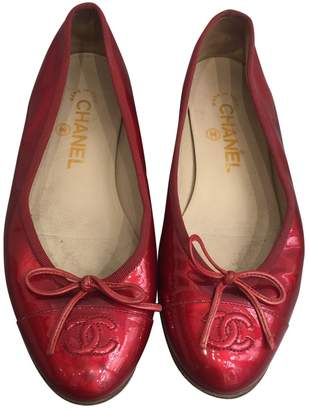 ... Chanel Red Patent leather Ballet flats 0b1ca3d37f