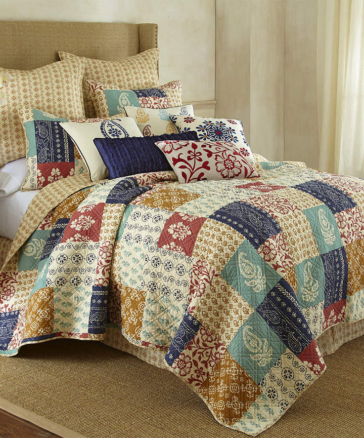 Blue & Red Patchwork Quilt Set