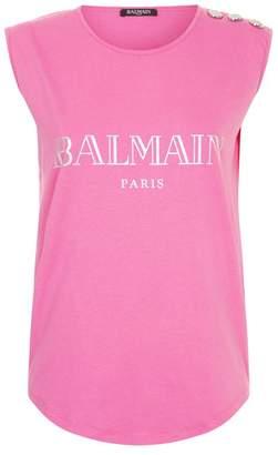 Balmain Sleeveless Metallic Logo T-Shirt
