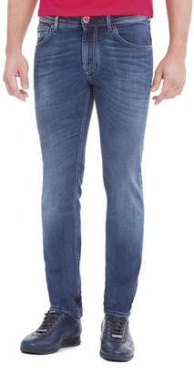Stefano Ricci Contrast-Stitch Skinny Denim Jeans, Light Wash Blue/Red