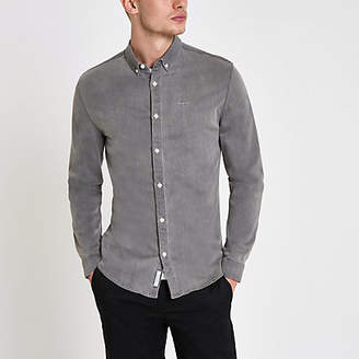 River Island Mens Grey muscle fit denim wasp embroidered shirt