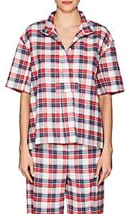The Sleep Shirt THE SLEEP SHIRT WOMEN'S PLAID COTTON FLANNEL PAJAMA TOP - BERRY PLAID