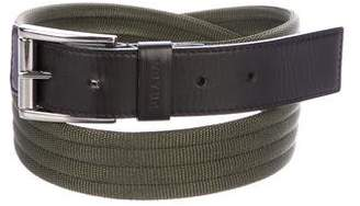 Prada Canvas Leather-Trimmed Belt