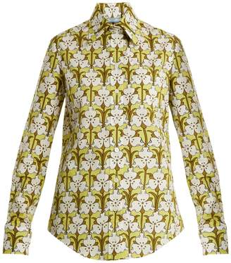 Prada Iris-print cotton-polin shirt