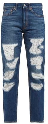 Junya Watanabe Lace Patchwork Straight Leg Jeans - Womens - Blue