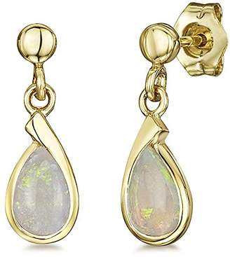 Theia 9ct Yellow Gold 'Blue Sapphire' Pearshaped Stud Drop Earrings