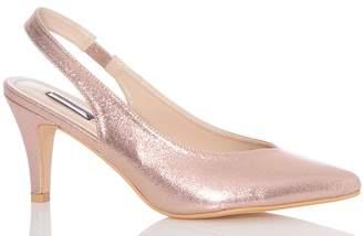 Quiz Rose Gold Shimmer Sling Back Low Heels
