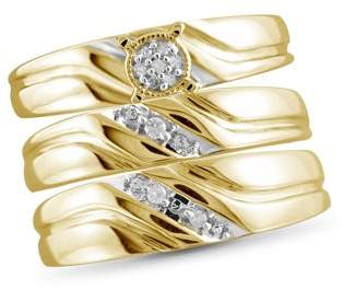 JewelersClub 1/20 Carat T.W. White Diamond Gold Over Silver Trio Engagement Ring Set