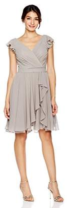 Cambridge Silversmiths The Collection Women's Draped V-Neckline and Petal Cap Sleeves Short Dress 0