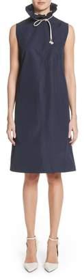 Calvin Klein Ruffle Neck Poplin Dress