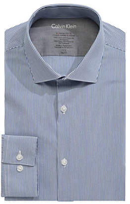Calvin Klein Long Sleeve Striped Cotton Dress Shirt