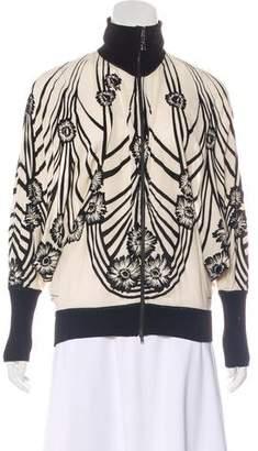 Jean Paul Gaultier Soleil Floral Print Velvet-Trimmed Zip-Up Jacket