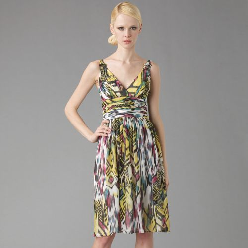Carmen Marc Valvo Ikat Print Silk Dress