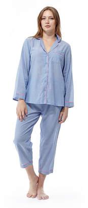 La Cera Plus-Size Long Sleeve Striped PJs - Plus