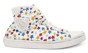 Saint Laurent Women's Bedford Canvas Star-Print High-Top Sneakers