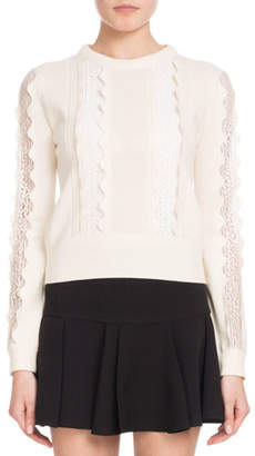 Chloé Crewneck Long-Sleeve Wool Scalloped Knit Sweater with Lace Inserts