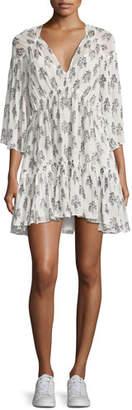 A.L.C. Evelyn V-Neck Tiered Floral-Print Silk Dress