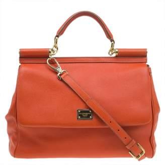 Dolce & Gabbana Sicily Orange Leather Handbag