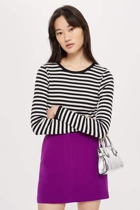 Topshop Long Sleeve Striped Scallop T-Shirt