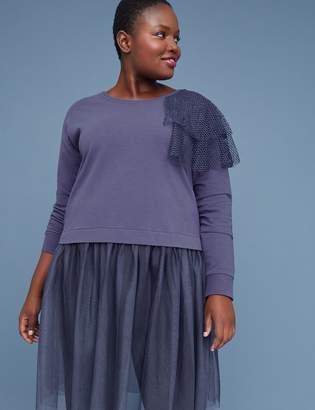 Lane Bryant Sweatshirt Tunic with Tulle Hem
