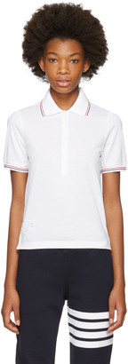 Thom Browne White Short Sleeve Polo $370 thestylecure.com