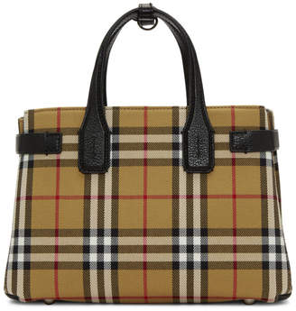 Burberry Beige and Black Vintage Check Small Banner Tote