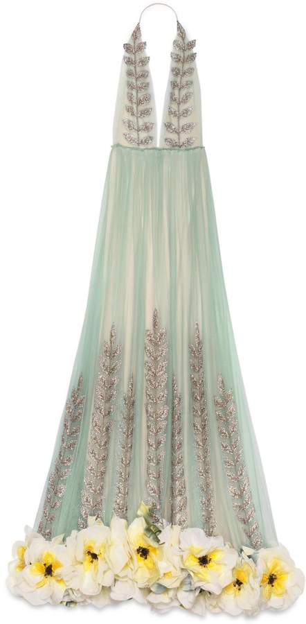 Crystal vine embroidered tulle gown