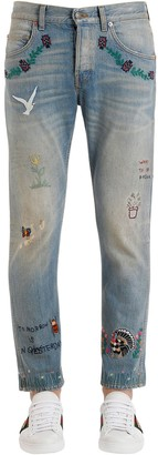 Gucci 18cm Embroidered Stone Washed Jeans