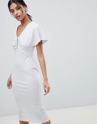 d5c303fd70b2 Asos Design DESIGN flutter sleeve zip front midi dress