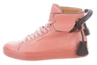 Buscemi Leather High-Top Sneakers Pink Leather High-Top Sneakers