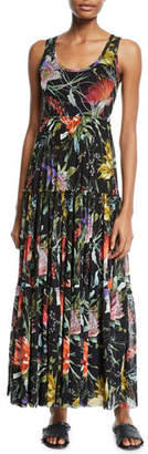 Fuzzi Tiered Tulle Maxi Dress Coverup