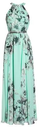 Eliza J Belted Chiffon Maxi Dress