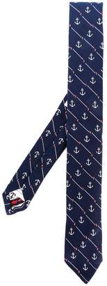 Thom Browne Striped Anchor Icon Necktie In Silk And Cotton