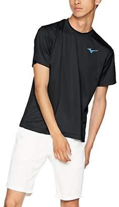 Mizuno (ミズノ) - [ミズノ] テニスウェア 18秋冬モデルTシャツ半袖 62JA8Z56 メンズ ブラック×シアン 日本 L (日本サイズL相当)