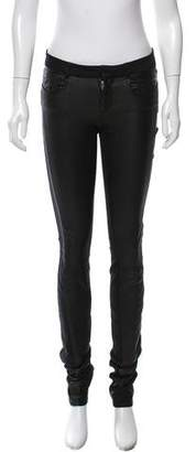 Helmut Lang Leather Accented Skinny-Leg Pants