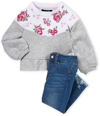 Joe's Jeans Infant Girls) Two-Piece Floral Peplum Pullover & Jeans Set
