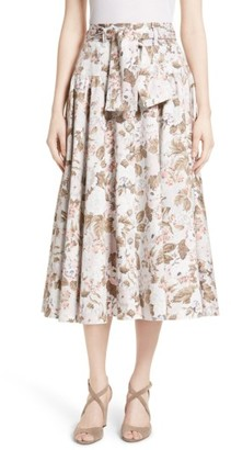 Women's Rebecca Taylor Penelope Floral Midi Skirt $395 thestylecure.com