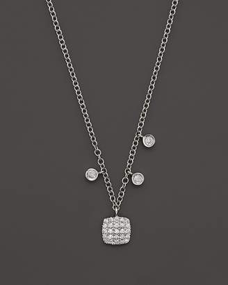 Meira T 14K White Gold Square Pavé Diamond Disc Necklace, 16""