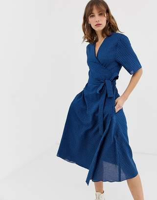Paul Smith gingham wrap midi dress